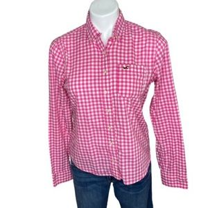 Hollister Pink White Plaid Button Down Top